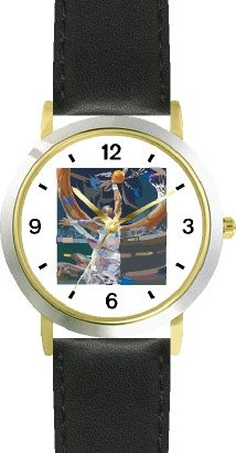 High Action Basketball Art No.1 Basketball Theme - WATCHBUDDY DELUXE TWO-TONE THEME WATCH - Arabic Numbers - Black Leather Strap-Women's Size-Small by WatchBuddy