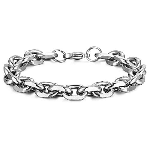 Trendsmax Unisex Oval Rolo Cable Chain Link Stainless Steel Bracelet Silver Tone 7 Inch