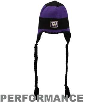 NCAA Columbia Washington Huskies Purple-Black On Fire Peruvian Swirl Performance Tassel Beanie