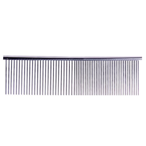 [Andux Land dog comb pet cat grooming tool for long hair gentle stainless steel silver CW-MRS01 (Large (width: 52mm))] (Silver 52 Tooth)