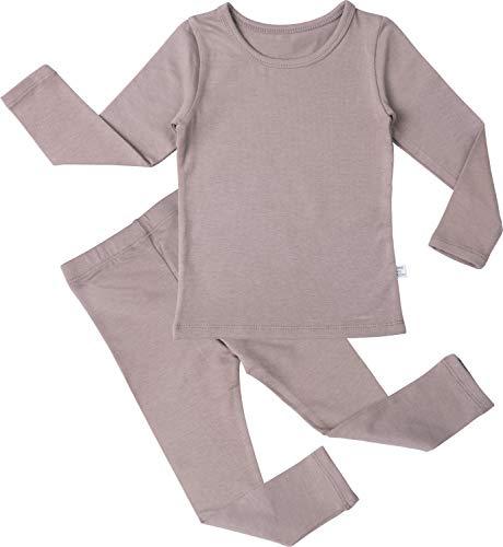 (AVAUMA Baby Boys Girls Solid Modal Pj Set Kids Pajamas Long Sleeve Cotton (G-Mocha)