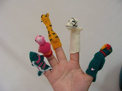 #499 25 Lot Peru Finger Puppets Assortment Animals Insects,People Hand Knit Toy