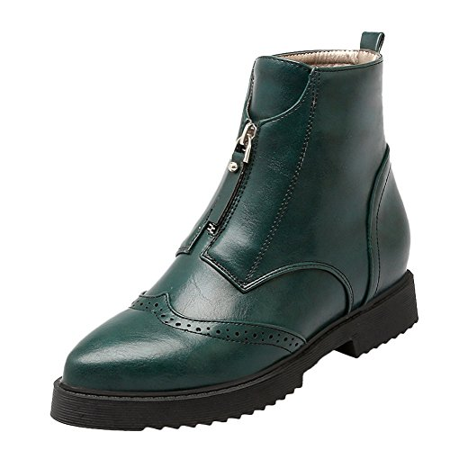 Latasa Womens Pointed-toe Flat Short Boots With Front Zipper Dark Green wZSEKHBt