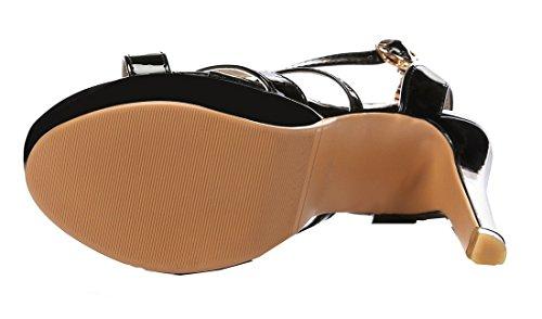 YE Damen Lackleder High Heel Stiletto Sandalen Moderne Elegante Pumps mit Knöchelriemchen Schuhe Schwarz