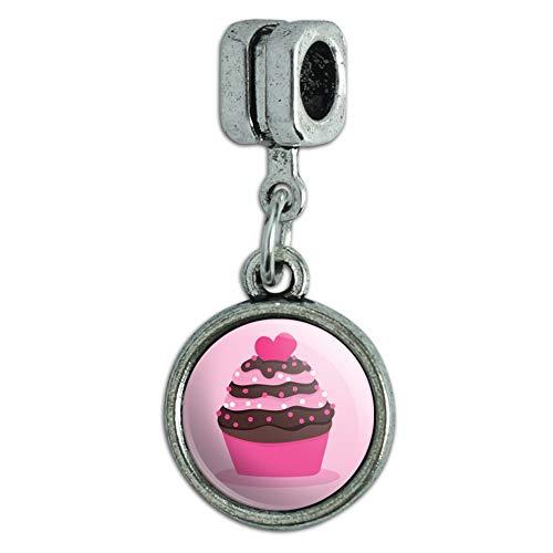 (GRAPHICS & MORE Strawberry Chocolate Cupcake Love Heart Italian European Style Bracelet Charm Bead)