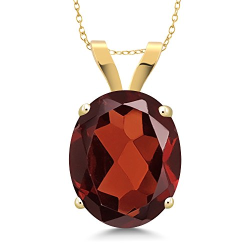 Yellow Gold Garnet Necklace - 3.60 Ct Oval Red Garnet 14K Yellow Gold Pendant With 18 Inch Chain
