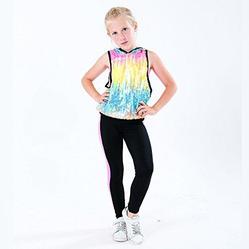 N-Dance Girl's Sequin Dance Hoodie Sleevless Rainbow Racerback Hip Hop Dance Costume Rainbow (Dance Hip Hop Costumes)