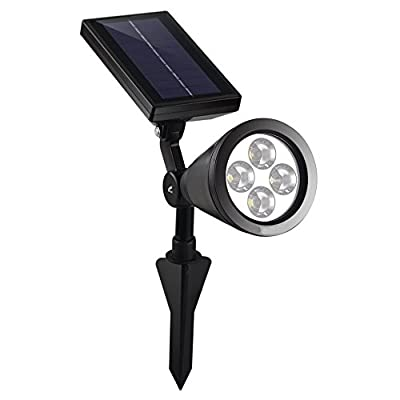LIEYANG Outdoor Bright White/Warm White 4 LED Solar Spotlight / Solar Powered Light for Landscape, Garden, Driveway, Pathway, Yard, Lawn, Etc. Solar Energy Exterior Lighting; Auto-on at Night and Auto-off by Day; Installs Easily, just Stick into Ground; S