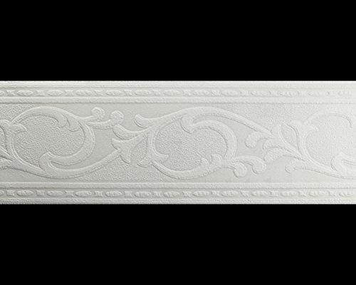 York Wallcoverings Patent Décor PT1833B Acanthus Leaf Paintable Border, White - Acanthus Leaf