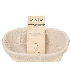 "DOYOLLA 1pcs Oval Shaped 10"" Banneton Brotform Bread Dough Proofing Rising Rattan Basket & Liner Combo"