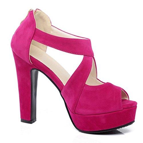 RAZAMAZA Mujer Cross Strap Plataforma tacon Alto Sandalias Peep Toe Tacones Zapatos melocot¨®n rojo