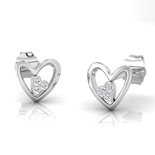 IGI Certified 1/20 Carat Natural Diamond Sterling Silver Double Heart Earrings for Women (J-K Color, I2-I3 -