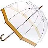 CLIFTON UMBRELLAS Gold Trim Clear PVC Birdcage Windproof Umbrella, Gold, One Size