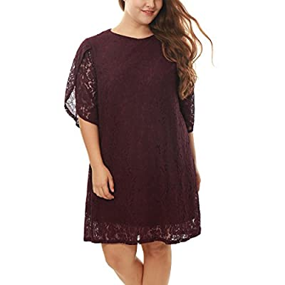 uxcell Agnes Orinda Women's Plus Size Tulip Sleeve Shift Floral Lace Dress
