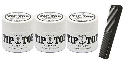 Tip Top Matte Water Based Medium Hold Pomade 4.25oz Pack of