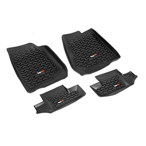 Rugged Ridge All-Terrain 12987.02 Black Front and Rear Floor Liner Kit For Select Jeep Wrangler Models ()