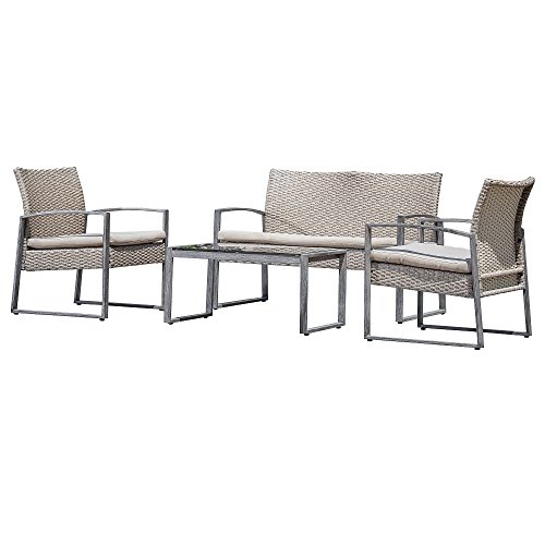Carabelle 4 Piece Outdoor Wicker Conversation Set price