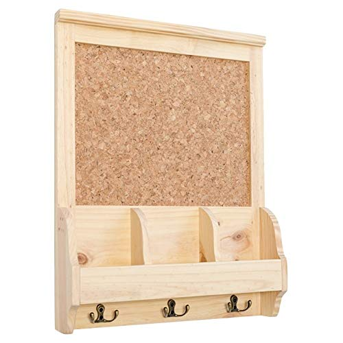 Cork Pin Message Bulletin Board, Wooden Frame Push Pin Office Memo Board, Wall Mounted Floating Shelf with Hook Coat Rack
