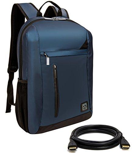 VanGoddy Adler Navy Blue Laptop Backpack for MSI GT Series / Prestige / Dominator / Stealth / Phantom / Apache / Mobile Workstation / Up to 15.6in + 12FT HDMI Cable