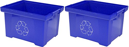 Storex 9 Gallon Recycle Bin, Blue (Pack of 2) by Storex