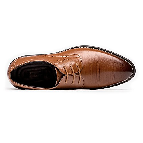 uomo 2018 da shoes Vino Oxford Scarpe uomo Fang Stringate traspirante in da 42 da Color lavoro Primavera Estate Marrone Dimensione pelle EU vera 5YvxA