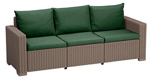 Außen Wasserfest 6 Stück Sitzkissen Set für Keter Allibert Kalifornien Rattan 3-sitzer Sofa Gartenmöbel, Erhältlich in 11 Farben - Grün