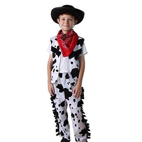 (Kids Cowboy Dress Up Set (Costume, Black Hat & Red Bandana) Size 6/8)