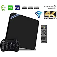[2017 New Arrivals] YoungGo Mini M8S II 4K Smart TV Box Android 6.0 Marshmallow Box Quad Core Amlogic S905X [1G/8G] support WiFi HDMI 3D With Free 2.4GHz Smart Wireless Keyboard