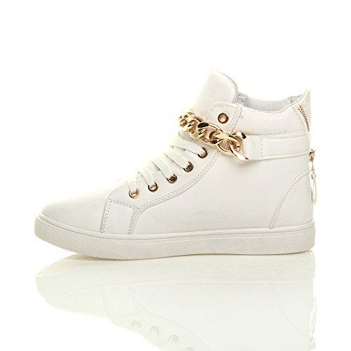 Damen Goldkette Riemen Schnüren Steppmuster Hi-Top Sneakers Turnschuhe Größe Weiß