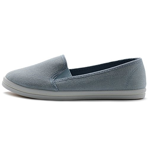 Ollio Womens Shoes Casual Slip On Sneakers Canvas Flats Blue uSBnIYkRBW