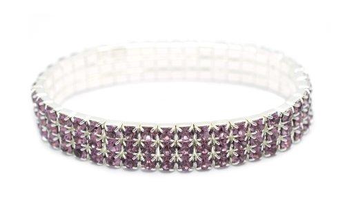 [Petite Womens Classic Silver 3 Row Lavender Opera Mauve Rhinestone Stretch Tennis Cuff Bracelet] (Las Vegas Showgirl Costume)