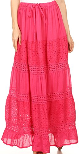 Sakkas 5290 - Genesis Lightweight Cotton Eyelet Skirt with Elastic Waistband - Fuschia - OS ()