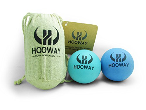HOOWAY Therapy Massage Ball, Yoga Ball for Deep Tissue, Trigger Point and Myofascial Release. Set of 2 Hard Rubber Balls.