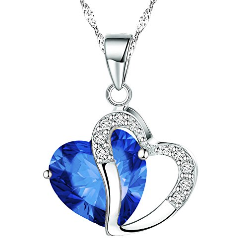 KATGI Fashion Austrian Crystals Heart Shape Pendant Necklace (Dark Blue) - Dark Blue Pendant Necklace