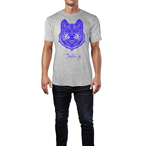 SINUS ART ® Bärenkopf im Ethno Muster Herren T-Shirts in hellgrau Fun Shirt mit tollen Aufdruck