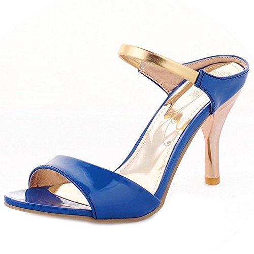 Zanpa Zapatos Mujer Tacon Fiesta Azul