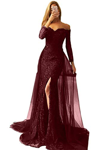 ebc6c2a20e4d7 ... Women s Appliques Off Shoulder Long Sleeve Mermaid Formal Prom Dress  Overskirt Side-Slit Evening Gown Burgundy Size 2.   