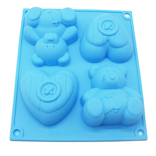 X-Haibei Fat Bear Heart Cupcake Chocolate Soap Muffin Pudding Silicone Mold Pan Kids Gfit