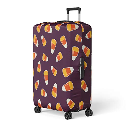 Pinbeam Luggage Cover Halloween Pattern Small Candy Corns Sweets on Dark Travel Suitcase Cover Protector Baggage Case Fits 26-28 inches ()