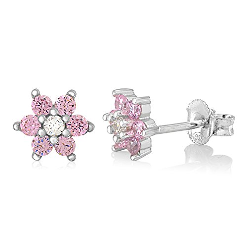 UNICORNJ Childrens Sterling Silver 925 Pink CZ 6 Petal Flower October Birth Month Stud Post Earrings -