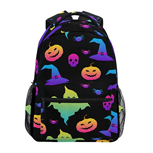 Lightweight Backpack Rainbow Happy Halloween Schoolbag Casual Camping Travel Outdoor Bag Daypack for Student Men Women Adult Teenagers Boys Girls -