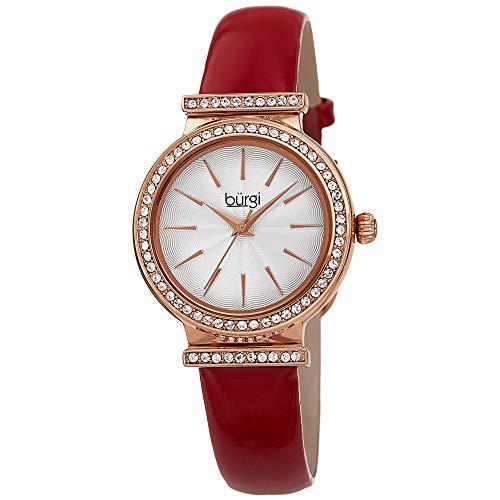 Burgi Swarovski Crystal Studded Bezel Watch - Sparkling Design Fine Guilloche Pattern Dial - Genuine Red Patent Leather Black Strap - BUR230RD