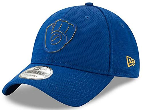 New Era 2019 MLB Milwaukee Brewers Clubhouse Baseball Cap Hat Rubber Logo 920 Navy