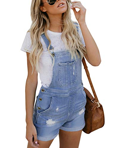 Happy Sailed Damen Kurz Jeanslatzhose Denim Overall Jumpsuit Playsuit Jeans Hosenanzug Romper S XXL