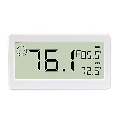 (Digital Thermometer Hygrometer,Humidity Monitor with Temperature Gauge and 3.3 Inch LCD Display,Table Standing,Magnet Attaching for Household,Kids Home,Kitchen,etc (1 Pack))