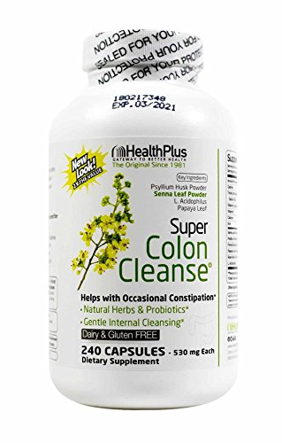 Health Plus Super Colon Cleanse: 10-Day Cleanse -Detox -Laxative |  6 Cleanses, 240 Capsules