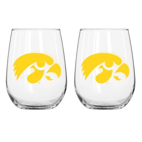 NCAA Iowa Hawkeyes Curved Beverage Glass, 16-ounce, (Iowa Hawkeyes Ncaa Beverage)