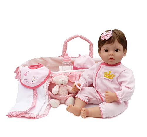CHAREX Reborn Baby Doll Handmade Lifelike Realistic Vinyl Girl Doll, 18 inch Weighted Soft Body Toy Gift Set