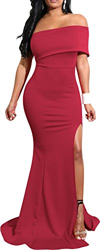 Mermaid Dresses Slit Stretchy Solid Bodycon Party Cocktail Club Long Dress 2018 Spring Summer XL 12 14 Wine Red Burgundy - Long In Beach Malls