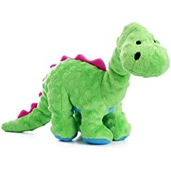 goDog Dinos Bruto Tough Plush Dog Toy with Chew Guard Technology, Green, Large